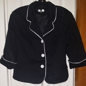 Black Cropped Blazer Jacket with White Piping